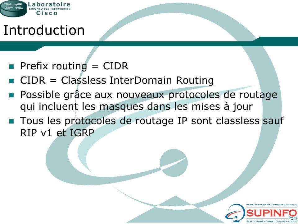 Introduction Prefix routing = CIDR CIDR = Classless InterDomain Routing Possible grâce aux nouveaux protocoles de routage qui incluent les masques dan