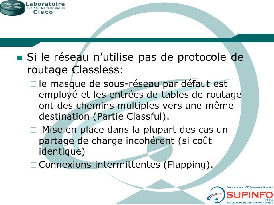 Si le réseau nutilise pas de protocole de routage Classless: le masque de sous-réseau par défaut est employé et les entrées de tables de routage ont d