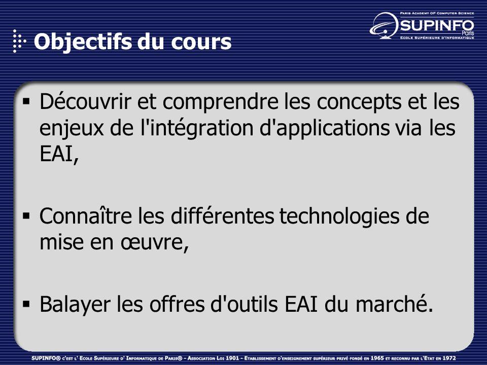 Objectifs du cours Découvrir et comprendre les concepts et les enjeux de l'intégration d'applications via les EAI, Connaître les différentes technolog
