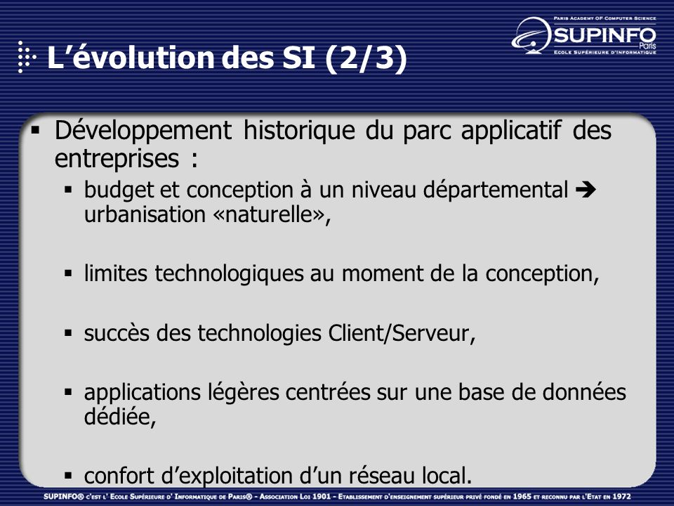 Lévolution des SI (3/3) Besoins dintégration & avènement de standards autour dInternet : globaliser de la chaîne de valeur de lentreprise : ERP, SCM, CRM, BI, PLM, … éviter les coûts dune refonte de S.I.
