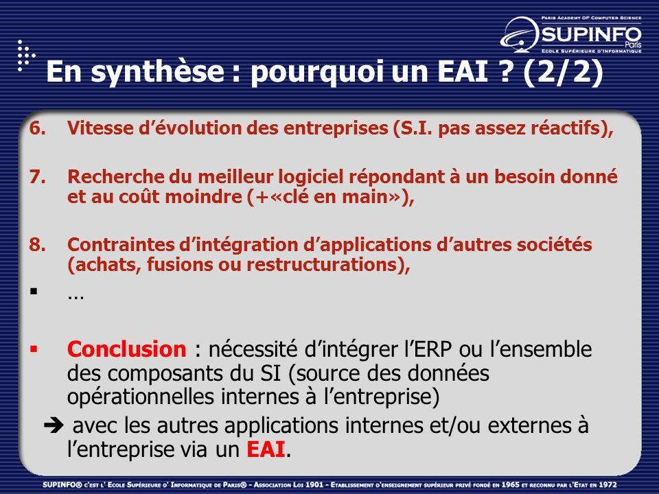 En synthèse : pourquoi un EAI ? (2/2) 6.Vitesse dévolution des entreprises (S.I. pas assez réactifs), 7.Recherche du meilleur logiciel répondant à un