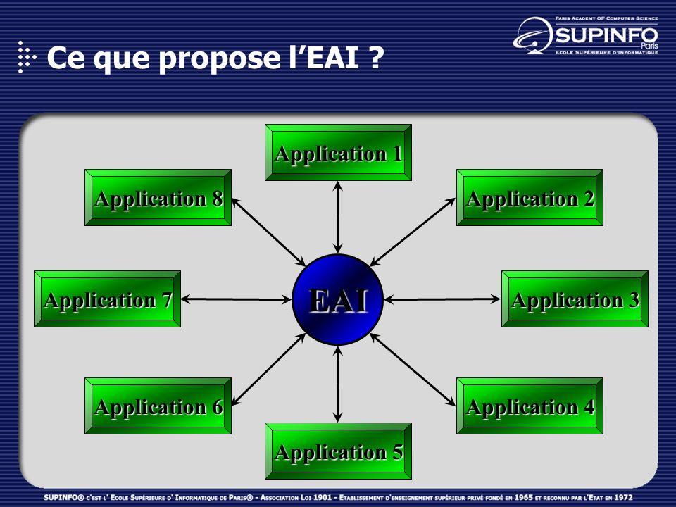 Ce que propose lEAI ? Application 1 Application 2 Application 5 Application 8 Application 4 Application 3 Application 7 Application 6 EAI