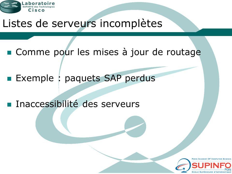 Listes de serveurs incomplètes Comme pour les mises à jour de routage Exemple : paquets SAP perdus Inaccessibilité des serveurs