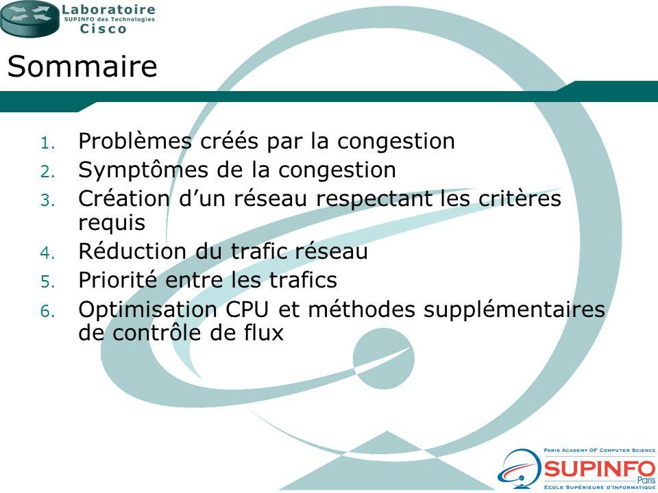 Sommaire 1. Problèmes créés par la congestion 2. Symptômes de la congestion 3. Création dun réseau respectant les critères requis 4. Réduction du traf