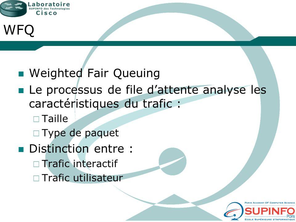 WFQ Weighted Fair Queuing Le processus de file dattente analyse les caractéristiques du trafic : Taille Type de paquet Distinction entre : Trafic inte