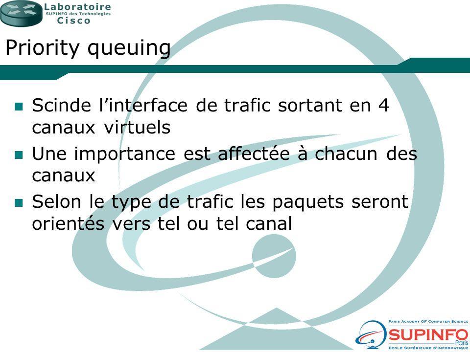 Priority queuing Scinde linterface de trafic sortant en 4 canaux virtuels Une importance est affectée à chacun des canaux Selon le type de trafic les