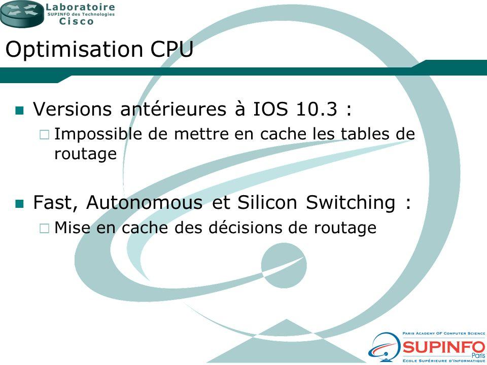 Optimisation CPU Versions antérieures à IOS 10.3 : Impossible de mettre en cache les tables de routage Fast, Autonomous et Silicon Switching : Mise en