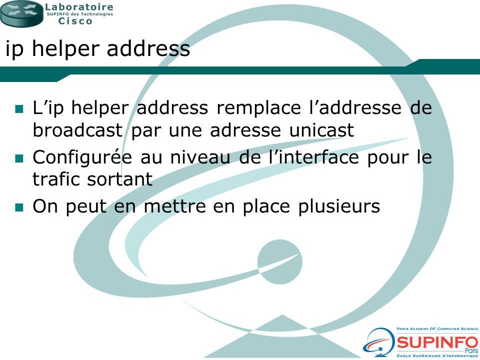ip helper address Lip helper address remplace laddresse de broadcast par une adresse unicast Configurée au niveau de linterface pour le trafic sortant
