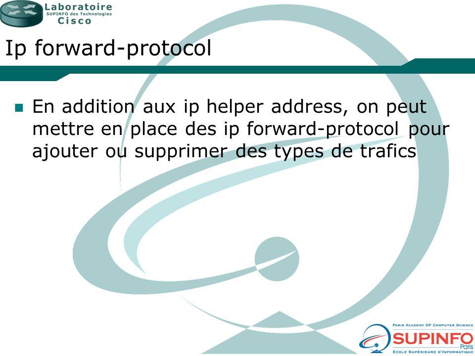 Ip forward-protocol En addition aux ip helper address, on peut mettre en place des ip forward-protocol pour ajouter ou supprimer des types de trafics