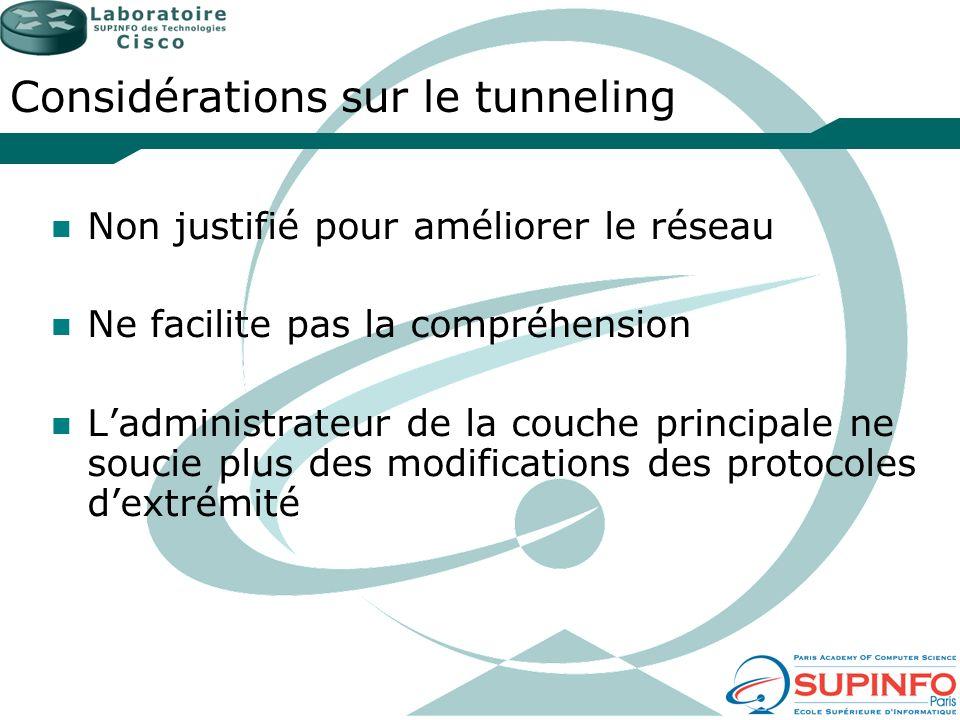Considérations sur le tunneling Non justifié pour améliorer le réseau Ne facilite pas la compréhension Ladministrateur de la couche principale ne souc