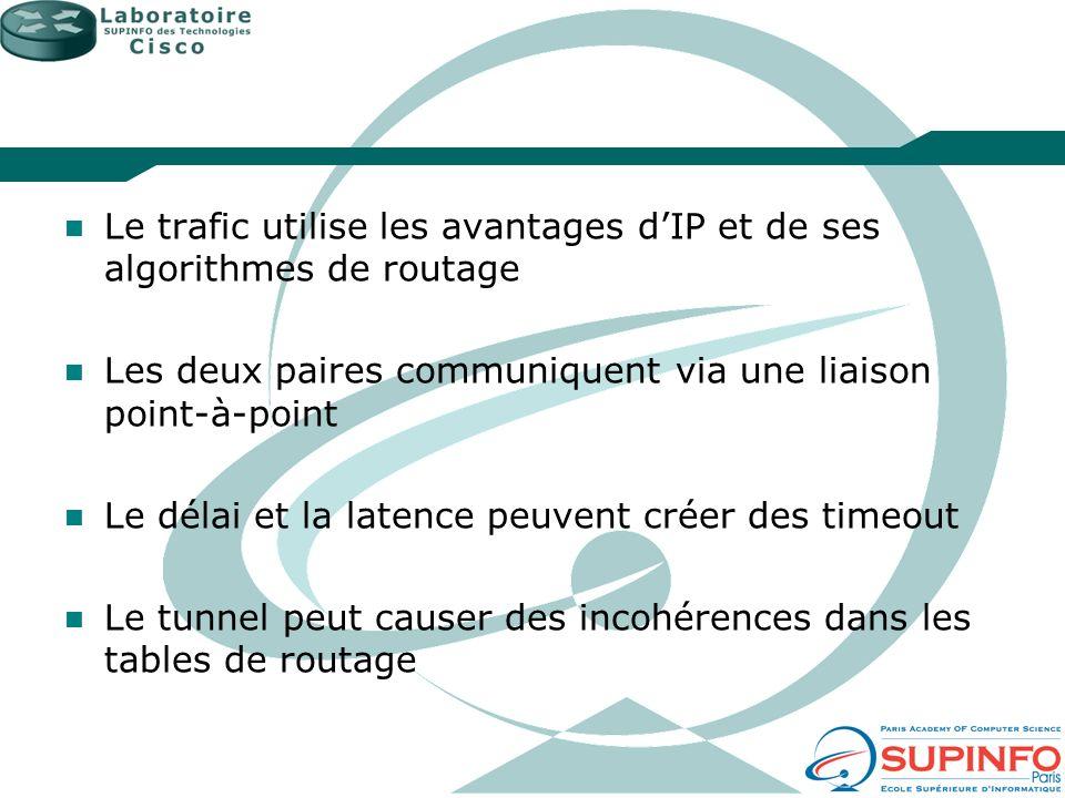 Le trafic utilise les avantages dIP et de ses algorithmes de routage Les deux paires communiquent via une liaison point-à-point Le délai et la latence