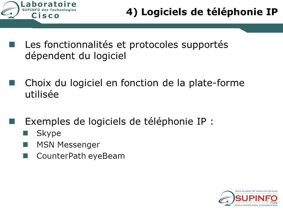 4) Logiciels de téléphonie IP Les fonctionnalités et protocoles supportés dépendent du logiciel Choix du logiciel en fonction de la plate-forme utilis