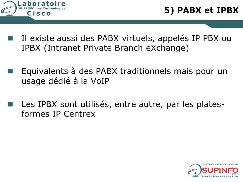 5) PABX et IPBX Il existe aussi des PABX virtuels, appelés IP PBX ou IPBX (Intranet Private Branch eXchange) Equivalents à des PABX traditionnels mais