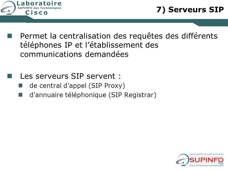 7) Serveurs SIP Permet la centralisation des requêtes des différents téléphones IP et létablissement des communications demandées Les serveurs SIP ser