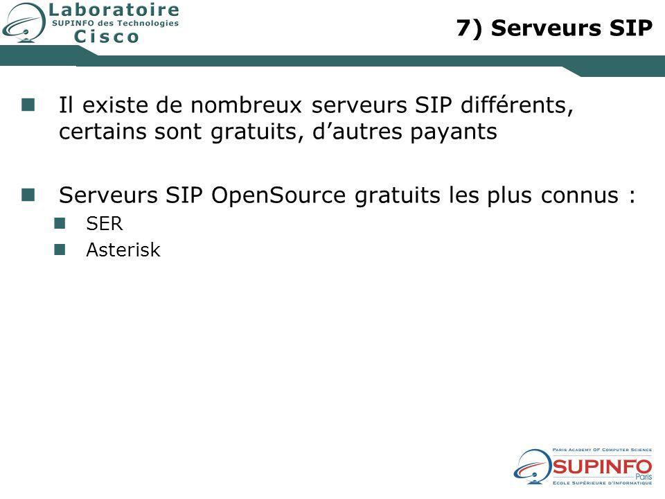 7) Serveurs SIP Il existe de nombreux serveurs SIP différents, certains sont gratuits, dautres payants Serveurs SIP OpenSource gratuits les plus connu