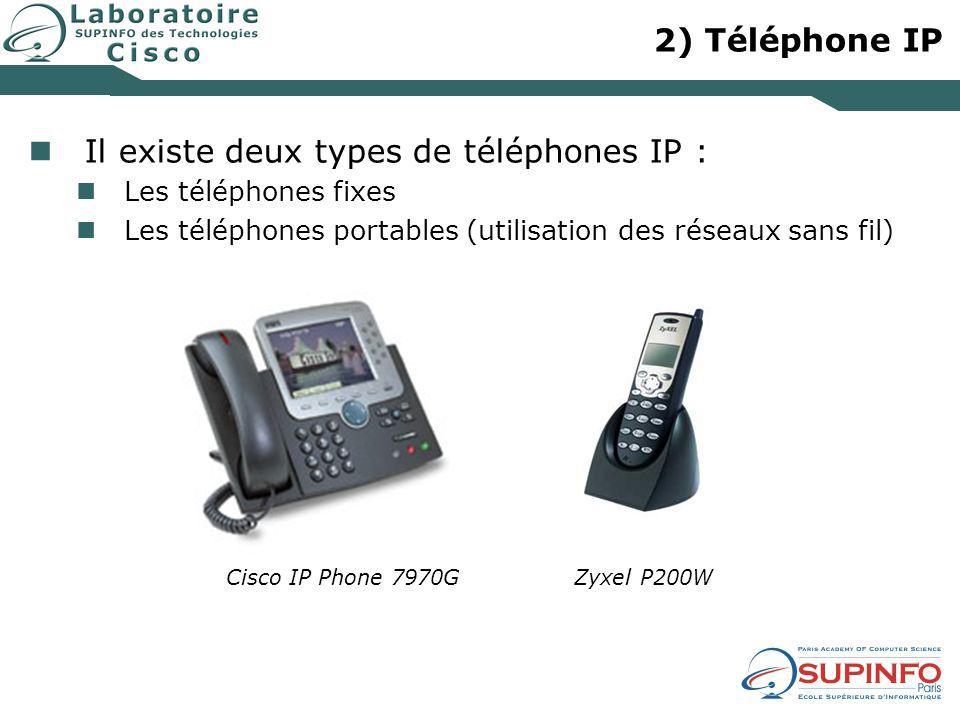 2) Téléphone IP Il existe deux types de téléphones IP : Les téléphones fixes Les téléphones portables (utilisation des réseaux sans fil) Cisco IP Phon