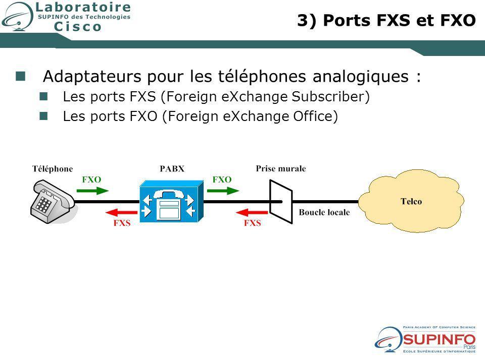 3) Ports FXS et FXO Adaptateurs pour les téléphones analogiques : Les ports FXS (Foreign eXchange Subscriber) Les ports FXO (Foreign eXchange Office)