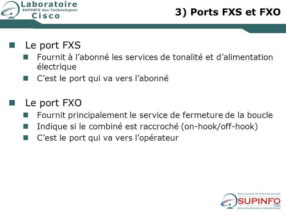 3) Ports FXS et FXO Le port FXS Fournit à labonné les services de tonalité et dalimentation électrique Cest le port qui va vers labonné Le port FXO Fo