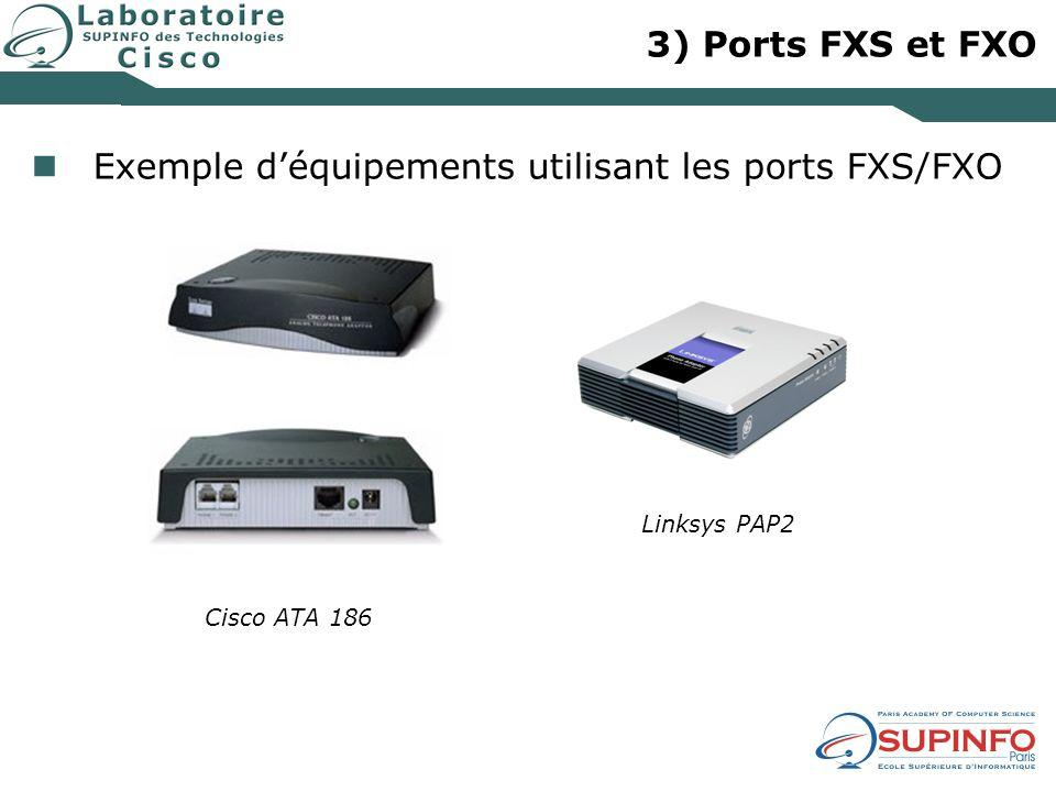3) Ports FXS et FXO Exemple déquipements utilisant les ports FXS/FXO Linksys PAP2 Cisco ATA 186