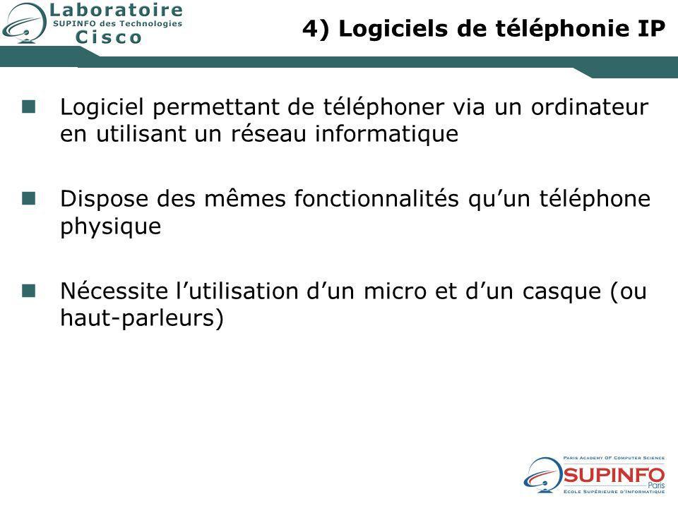 4) Logiciels de téléphonie IP Les fonctionnalités et protocoles supportés dépendent du logiciel Choix du logiciel en fonction de la plate-forme utilisée Exemples de logiciels de téléphonie IP : Skype MSN Messenger CounterPath eyeBeam