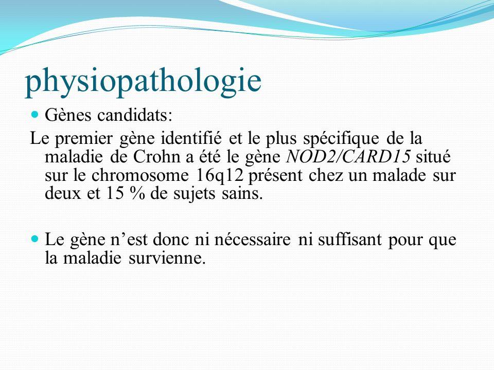 physiopathologie Gènes candidats: Le premier gène identifié et le plus spécifique de la maladie de Crohn a été le gène NOD2/CARD15 situé sur le chromo