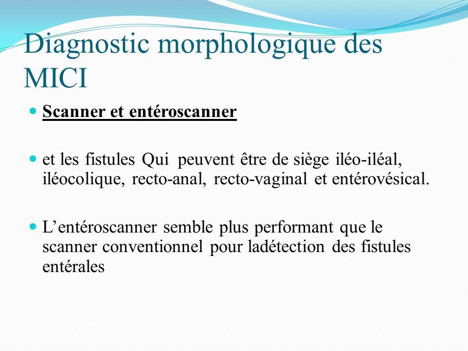 Diagnostic morphologique des MICI Scanner et entéroscanner et les fistules Qui peuvent être de siège iléo-iléal, iléocolique, recto-anal, recto-vagina