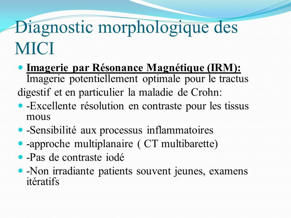 Diagnostic morphologique des MICI Imagerie par Résonance Magnétique (IRM): Imagerie potentiellement optimale pour le tractus digestif et en particulie