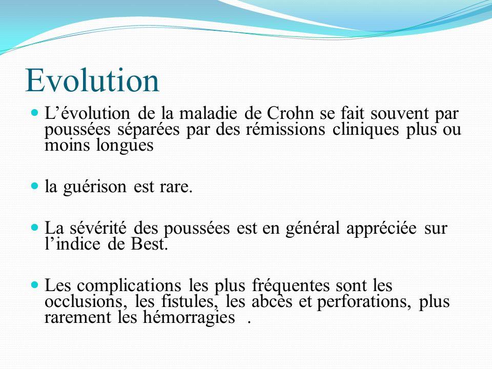 Evolution Lévolution de la maladie de Crohn se fait souvent par poussées séparées par des rémissions cliniques plus ou moins longues la guérison est r