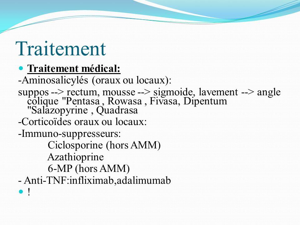 Traitement Traitement médical: -Aminosalicylés (oraux ou locaux): suppos --> rectum, mousse --> sigmoide, lavement --> angle colique