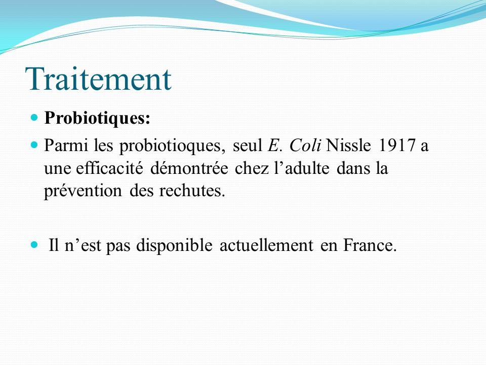 Traitement Probiotiques: Parmi les probiotioques, seul E. Coli Nissle 1917 a une efficacité démontrée chez ladulte dans la prévention des rechutes. Il