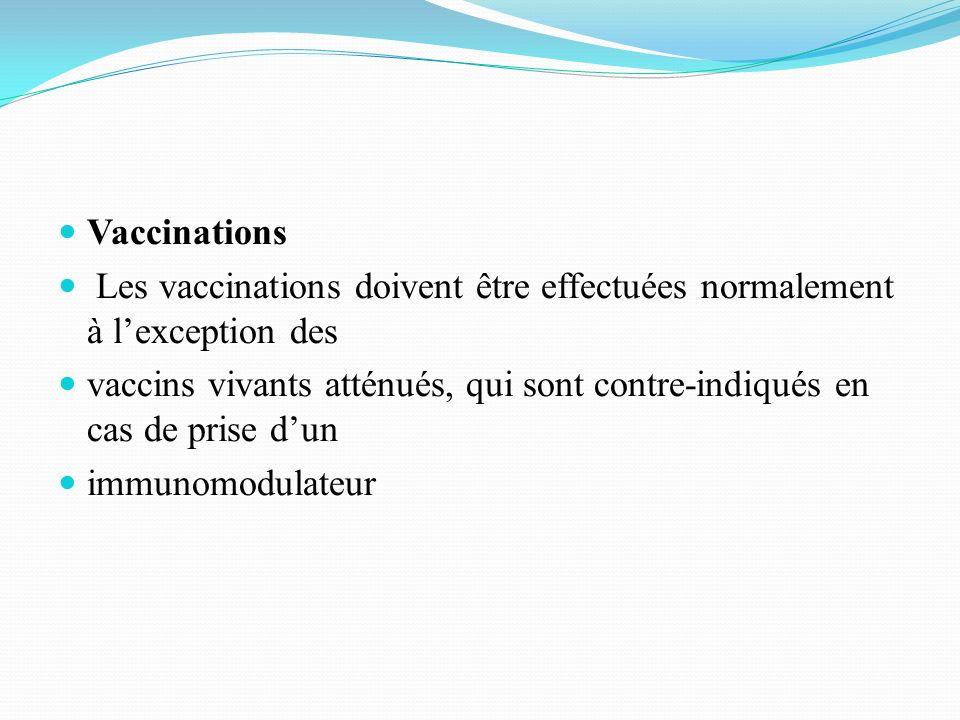 Vaccinations Les vaccinations doivent être effectuées normalement à lexception des vaccins vivants atténués, qui sont contre-indiqués en cas de prise