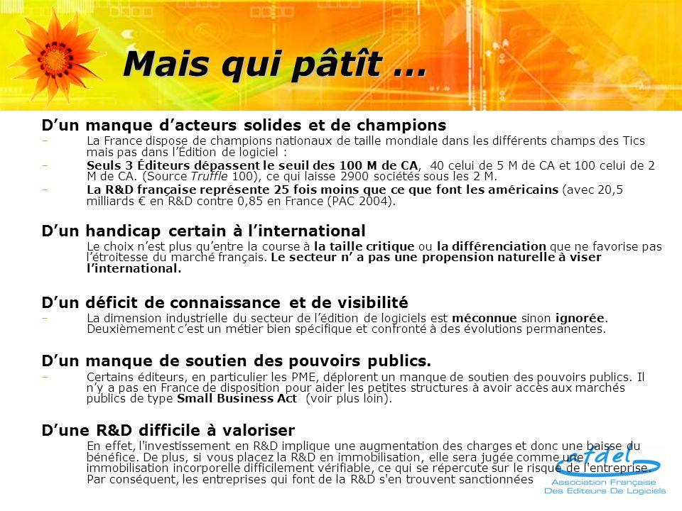 Mais qui pâtît … Dun manque dacteurs solides et de champions –La France dispose de champions nationaux de taille mondiale dans les différents champs des Tics mais pas dans lÉdition de logiciel : –Seuls 3 Éditeurs dépassent le seuil des 100 M de CA, 40 celui de 5 M de CA et 100 celui de 2 M de CA.