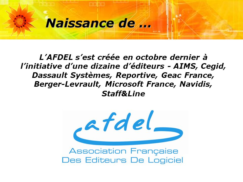 Naissance de … LAFDEL sest créée en octobre dernier à linitiative dune dizaine déditeurs - AIMS, Cegid, Dassault Systèmes, Reportive, Geac France, Berger-Levrault, Microsoft France, Navidis, Staff&Line