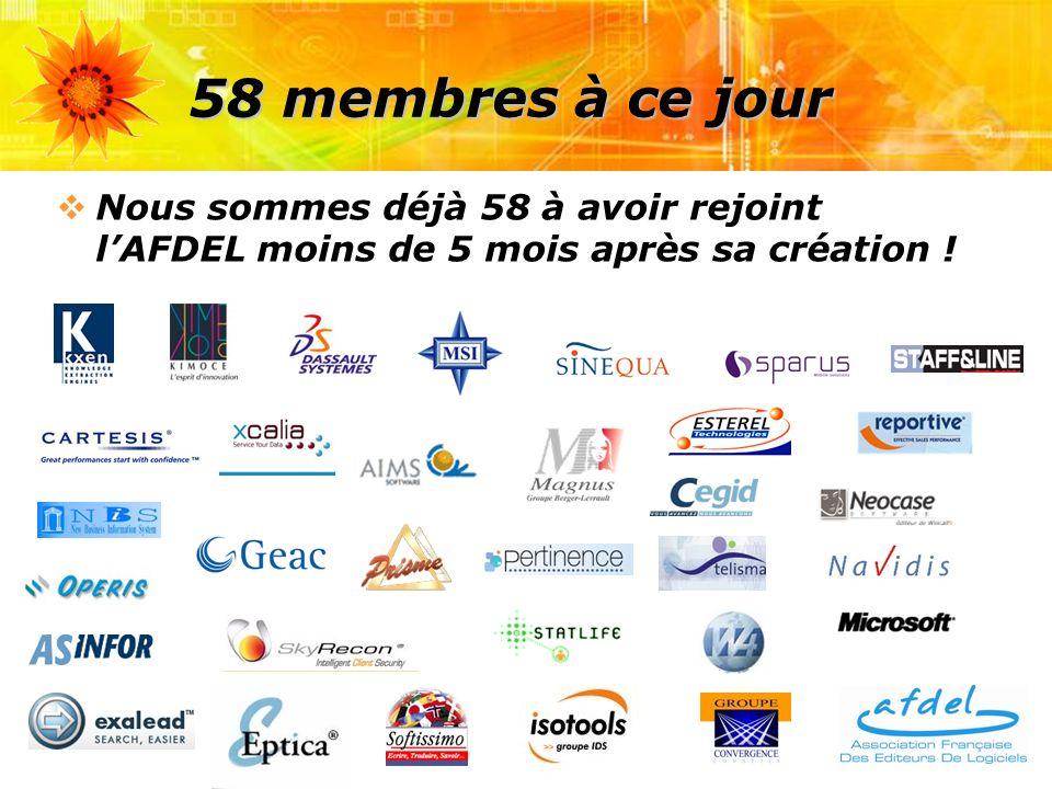 58 membres à ce jour Nous sommes déjà 58 à avoir rejoint lAFDEL moins de 5 mois après sa création !