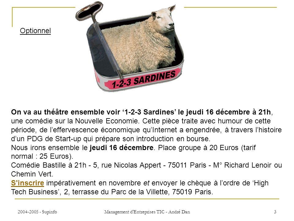 2004-2005 - Supinfo Management d Entreprises TIC - André Dan 3 On va au théâtre ensemble voir 1-2-3 Sardines le jeudi 16 décembre à 21h, une comédie sur la Nouvelle Economie.