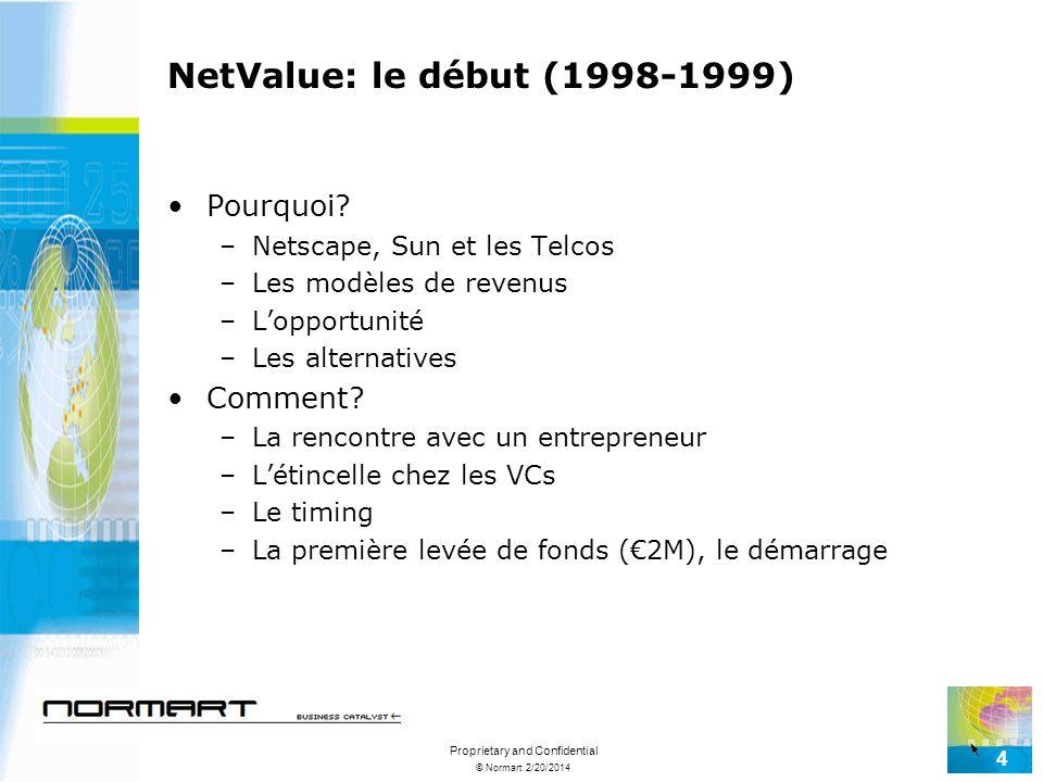 © Normart 2/20/2014 Proprietary and Confidential 4 NetValue: le début (1998-1999) Pourquoi? –Netscape, Sun et les Telcos –Les modèles de revenus –Lopp