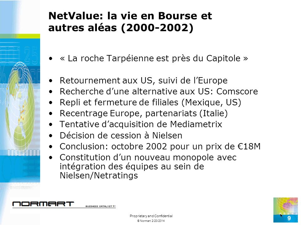 © Normart 2/20/2014 Proprietary and Confidential 9 NetValue: la vie en Bourse et autres aléas (2000-2002) « La roche Tarpéienne est près du Capitole » Retournement aux US, suivi de lEurope Recherche dune alternative aux US: Comscore Repli et fermeture de filiales (Mexique, US) Recentrage Europe, partenariats (Italie) Tentative dacquisition de Mediametrix Décision de cession à Nielsen Conclusion: octobre 2002 pour un prix de 18M Constitution dun nouveau monopole avec intégration des équipes au sein de Nielsen/Netratings