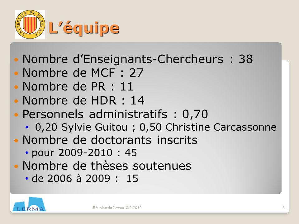 Léquipe Nombre dEnseignants-Chercheurs : 38 Nombre de MCF : 27 Nombre de PR : 11 Nombre de HDR : 14 Personnels administratifs : 0,70 0,20 Sylvie Guito
