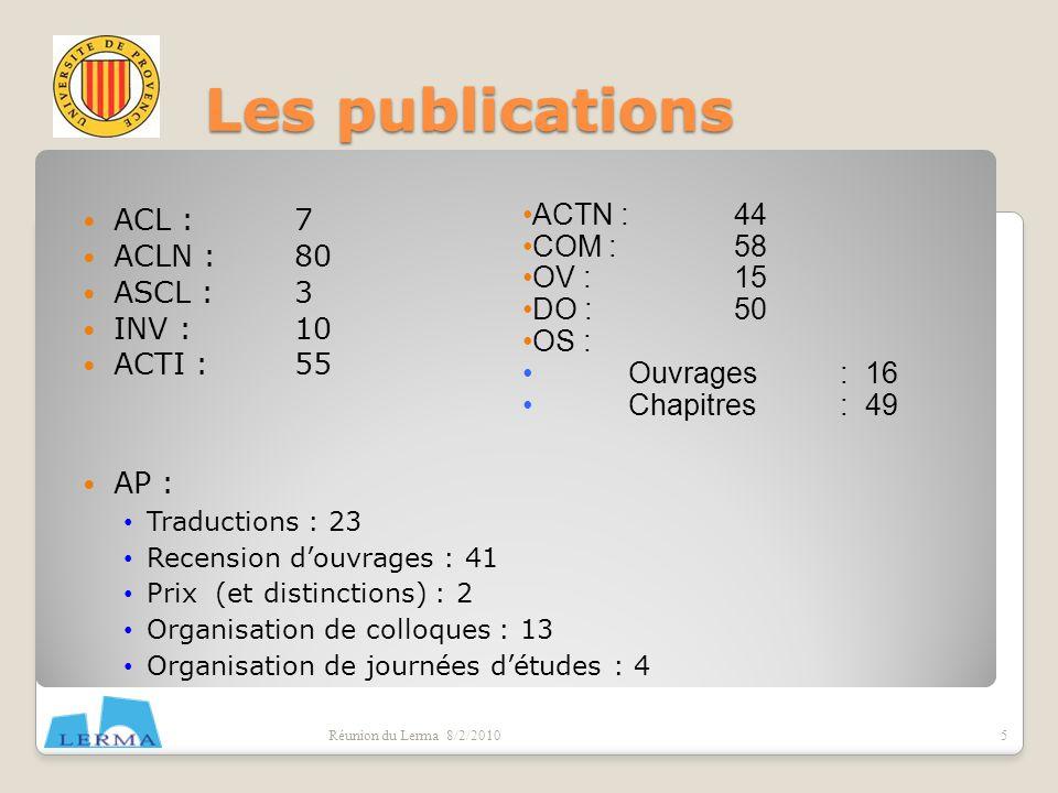 Formation doctorants Réunion du Lerma 8/2/2010 Nombre de doctorants: 45(+9) Thèses soutenues: 15 (+4 HDR) Publications des doctorants.