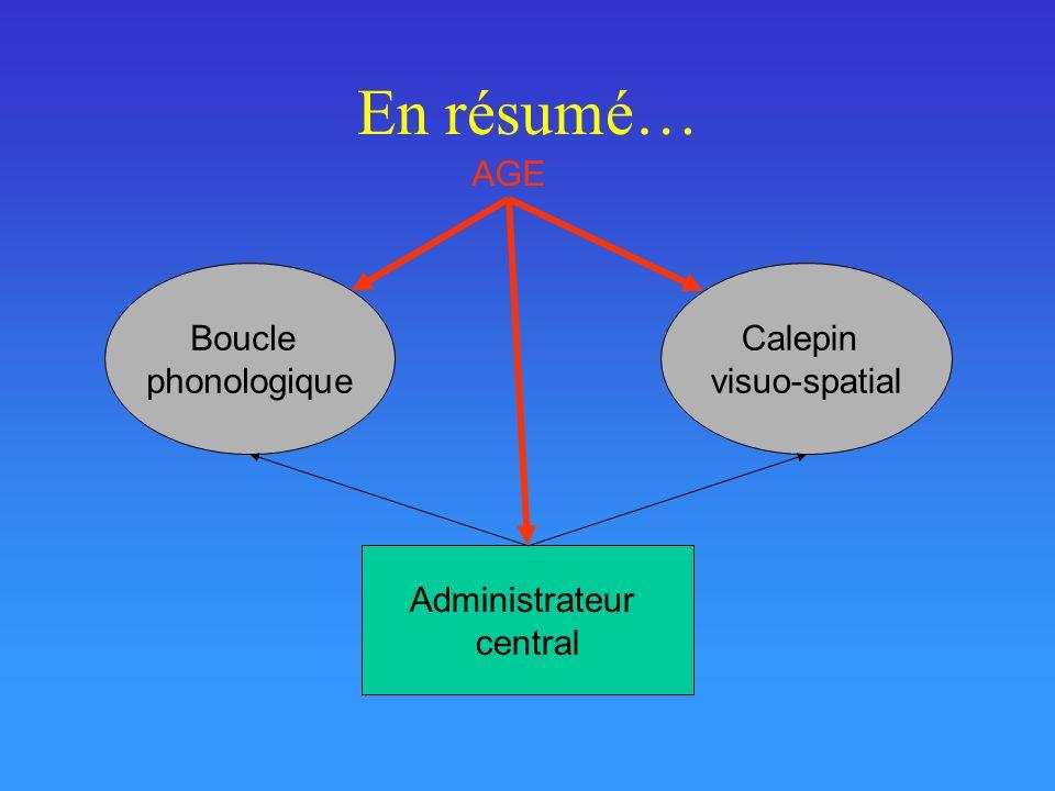 En résumé… Administrateur central Boucle phonologique Calepin visuo-spatial AGE