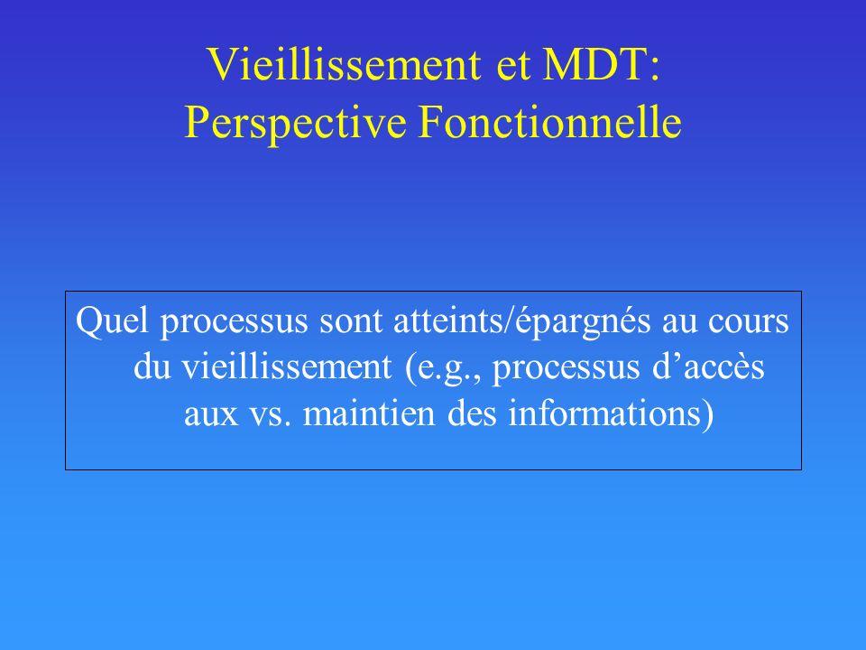 Vieillissement et MDT: Perspective Fonctionnelle Quel processus sont atteints/épargnés au cours du vieillissement (e.g., processus daccès aux vs. main
