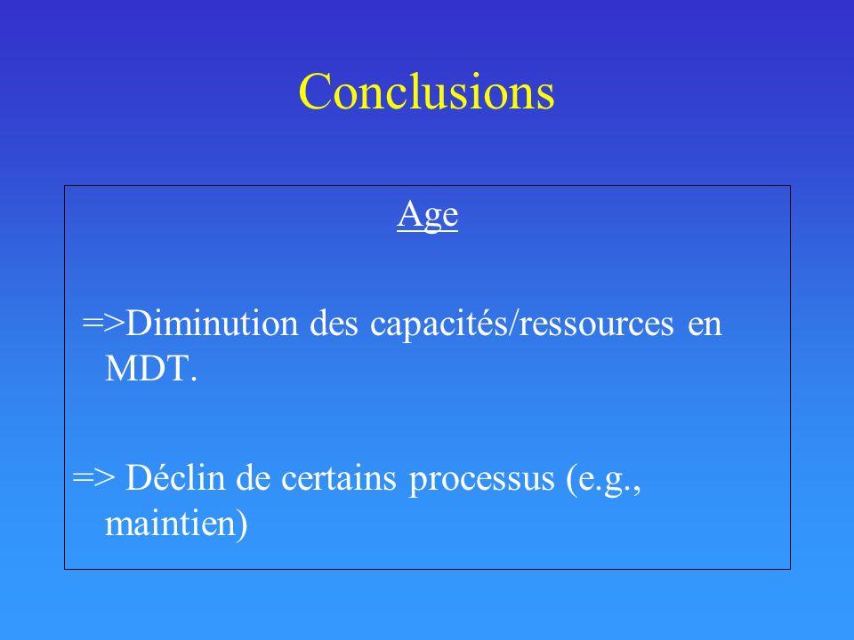 Conclusions Age =>Diminution des capacités/ressources en MDT. => Déclin de certains processus (e.g., maintien)