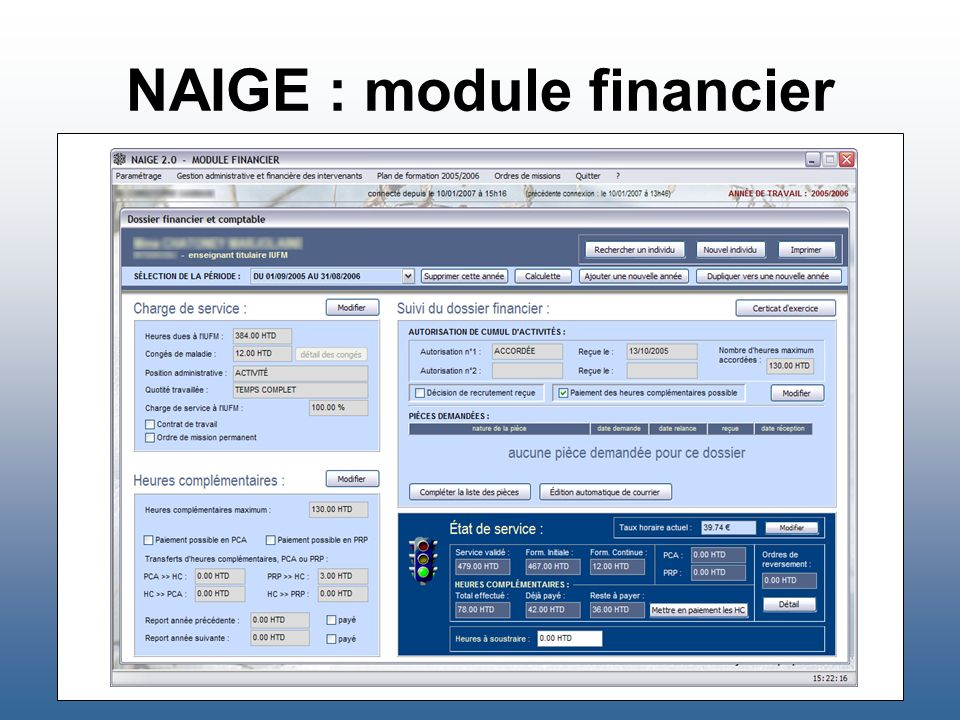 NAIGE : module financier