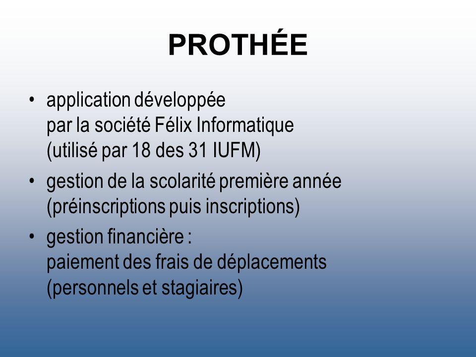 PROTHÉE application développée par la société Félix Informatique (utilisé par 18 des 31 IUFM) gestion de la scolarité première année (préinscriptions
