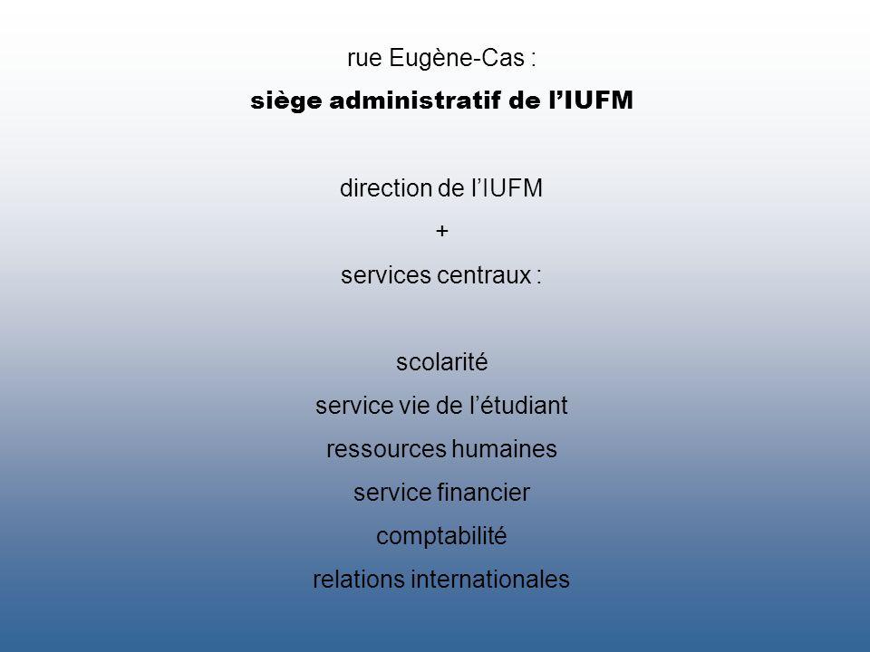 rue Eugène-Cas : siège administratif de lIUFM direction de lIUFM + services centraux : scolarité service vie de létudiant ressources humaines service