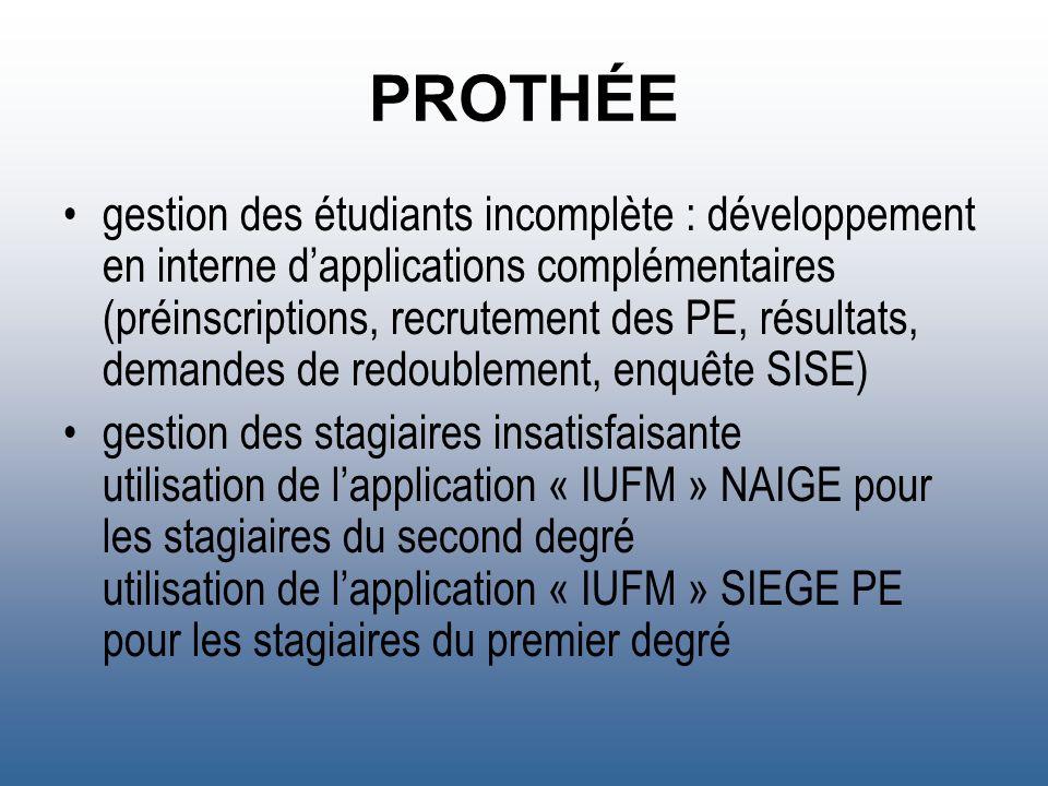 PROTHÉE gestion des étudiants incomplète : développement en interne dapplications complémentaires (préinscriptions, recrutement des PE, résultats, dem