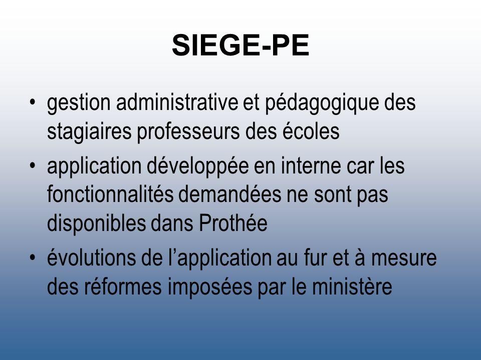SIEGE-PE gestion administrative et pédagogique des stagiaires professeurs des écoles application développée en interne car les fonctionnalités demandé