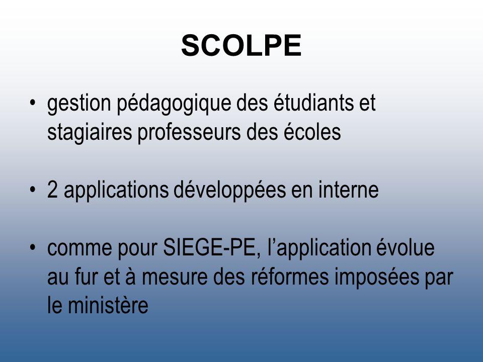 SCOLPE gestion pédagogique des étudiants et stagiaires professeurs des écoles 2 applications développées en interne comme pour SIEGE-PE, lapplication