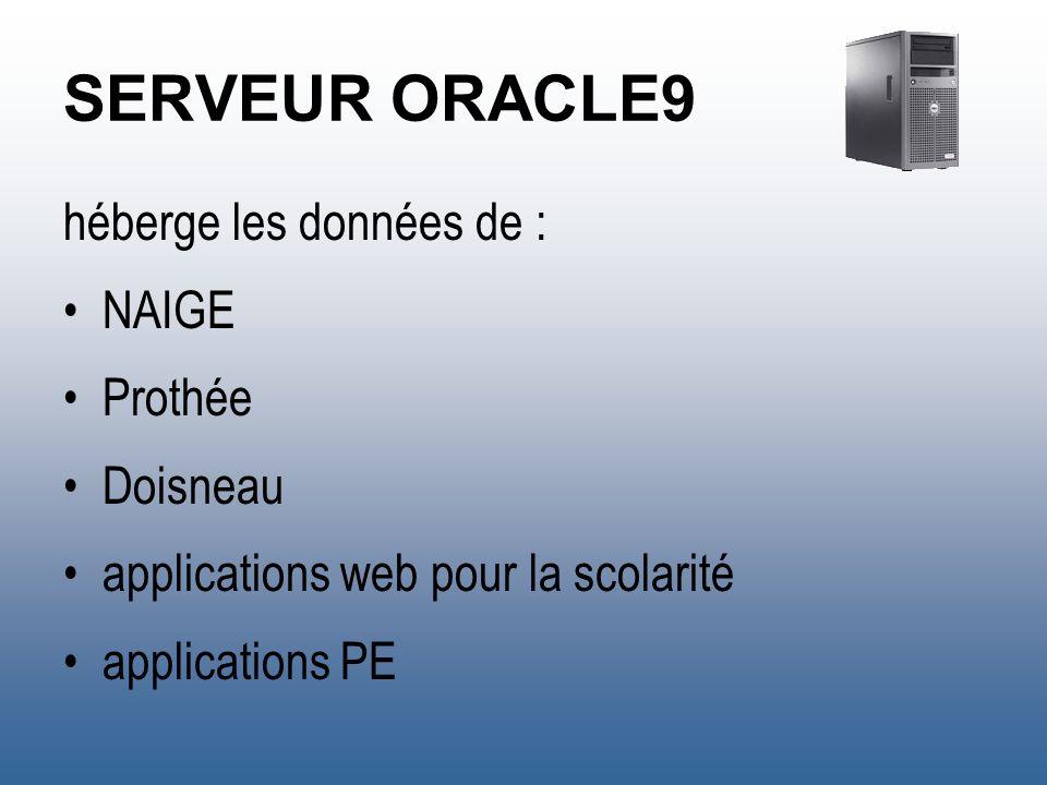 SERVEUR ORACLE9 système Windows 2003 Server R2 Oracle 9.2.0.6 sauvegardes bi-quotidiennes (tous les quart dheure en période de préinscription) base de 1,5 Go (1 Go de données – 500 Mo de tables système) 6 138 000 lignes