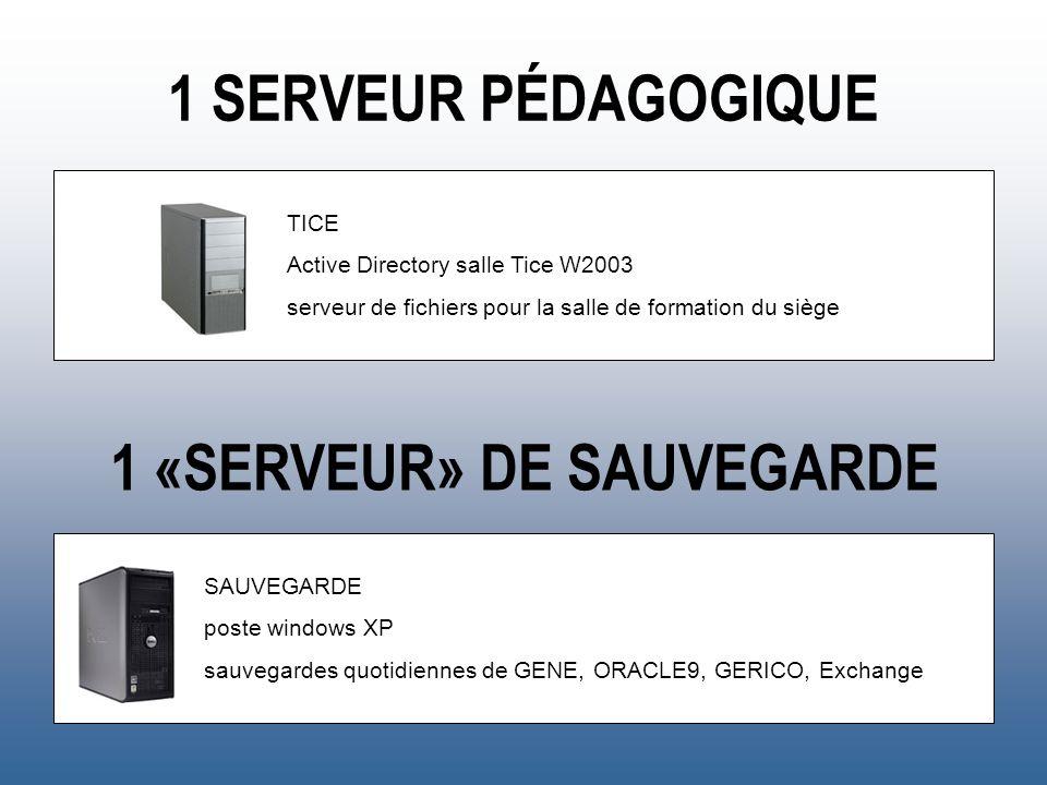 1 SERVEUR PÉDAGOGIQUE TICE Active Directory salle Tice W2003 serveur de fichiers pour la salle de formation du siège 1 «SERVEUR» DE SAUVEGARDE SAUVEGA